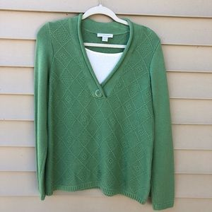 Christopher & Banks green sweater with dickie